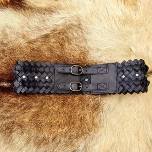 French Connection Black Woven Leather Studded Belt